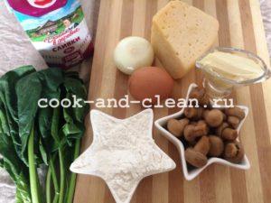Пирог с грибами и шпинатом