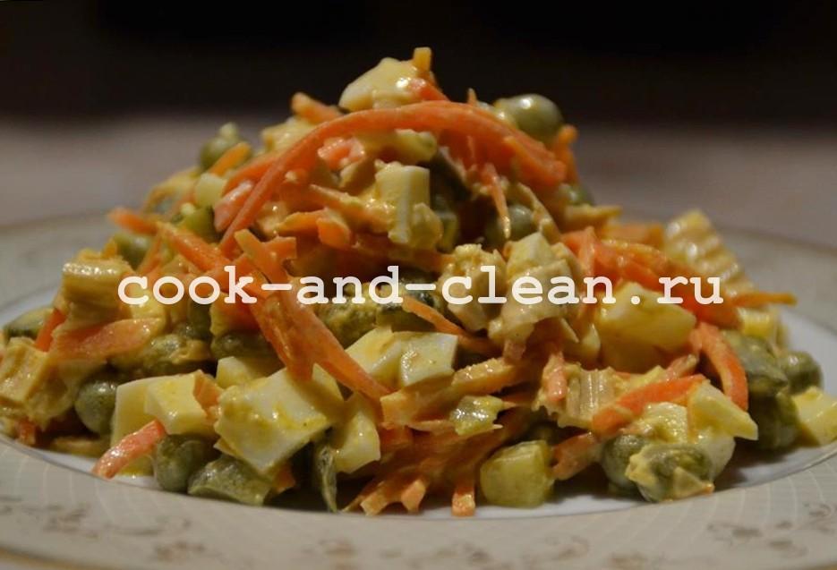 салат с корейской морковью и спаржей