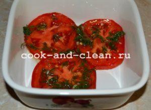 Салат из маринованных помидоров