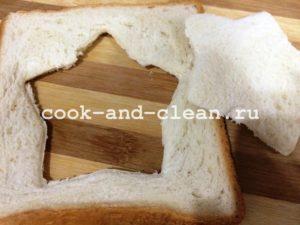 бутерброды с яичницей внутри на сковороде