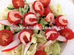 легкий салат с креветкой фото