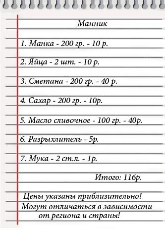 простой рецепт манника