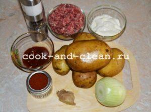 картофельная запеканка с фаршем со сметаной