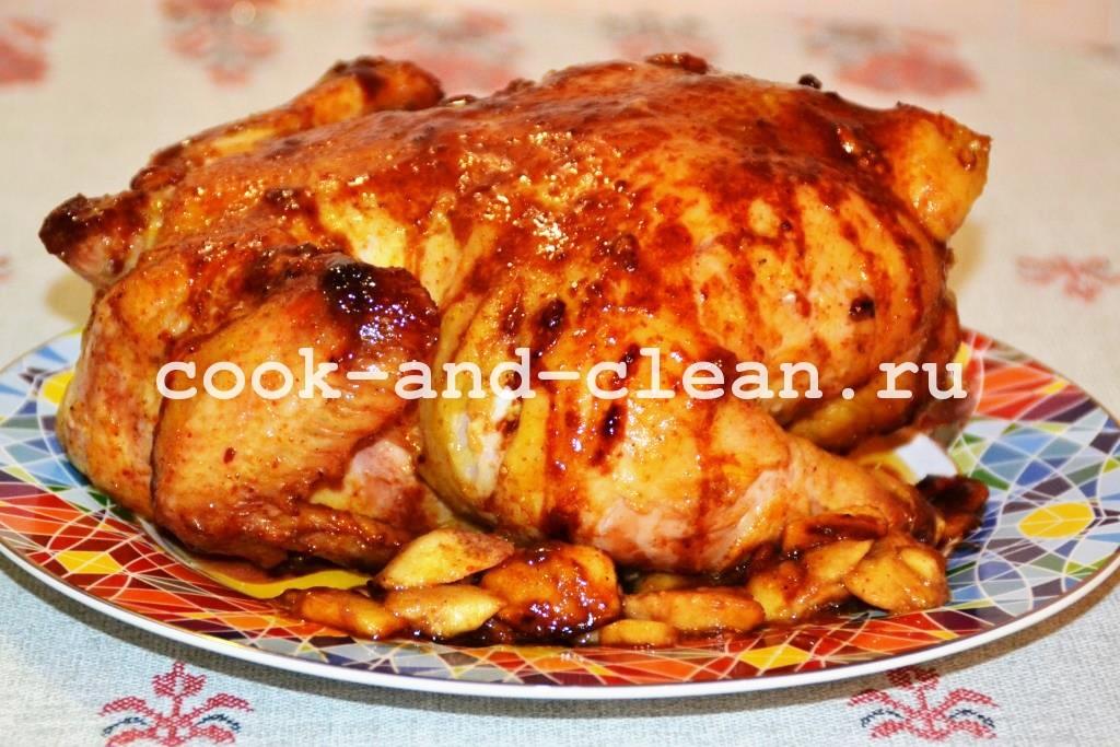 курица в духовке целиком с яблоками