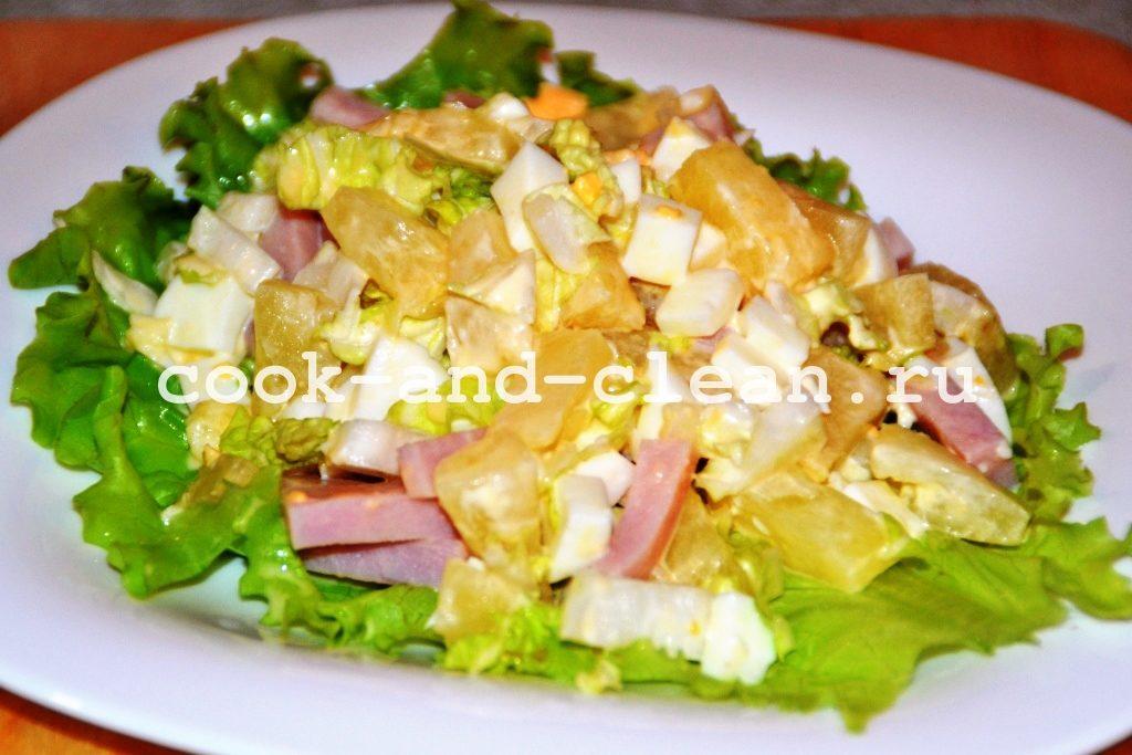 рецепт салата с ананасом