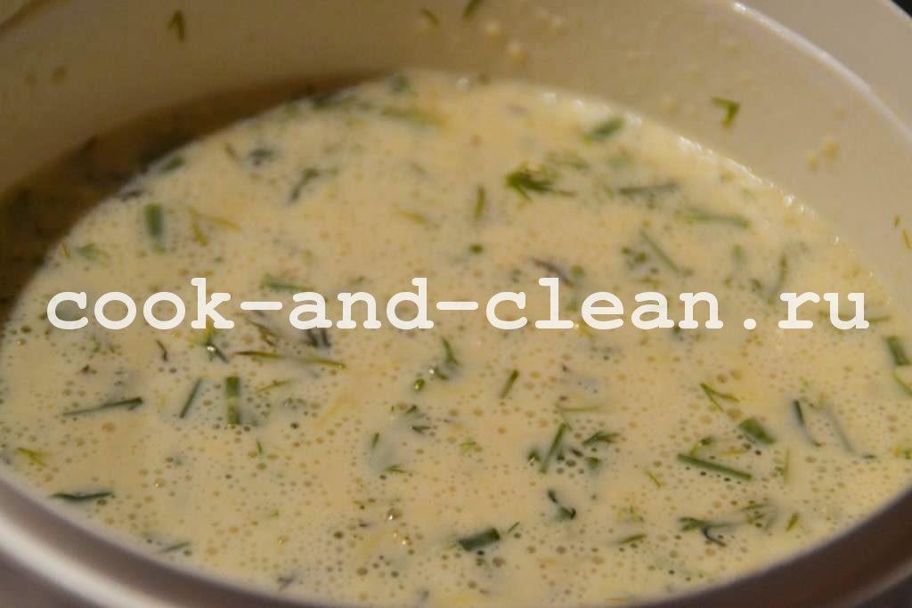 блины на молоке с сыром и зеленью