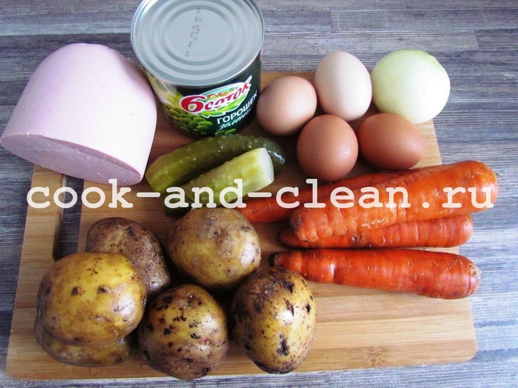 рецепт оливье с колбасой