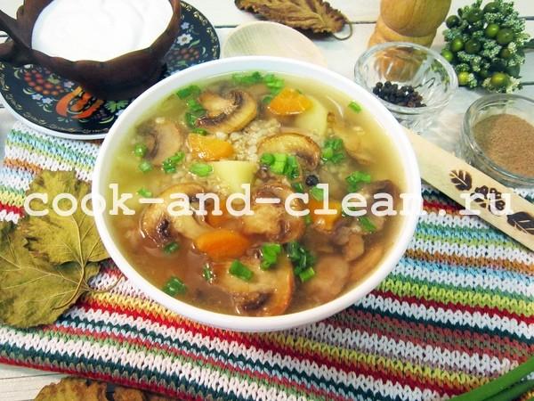 Суп из шампиньонов с пшеничной крупой и специями