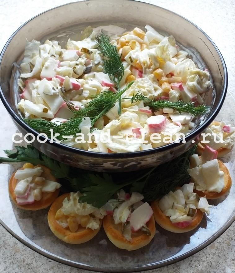пекинская капуста крабовые палочки кукуруза рецепт салата