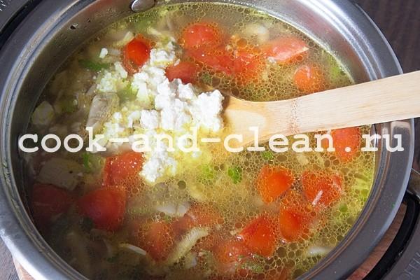 сырный суп с вешенками