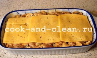 курица грибы картофель сыр в духовке