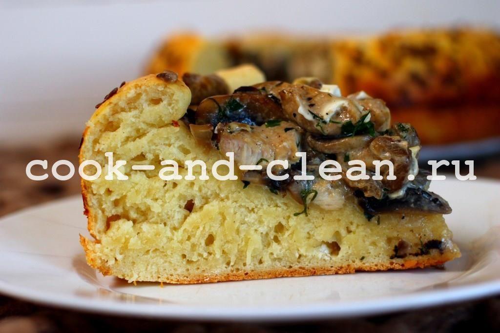 рецепт лоранского пирога с курицей и грибами