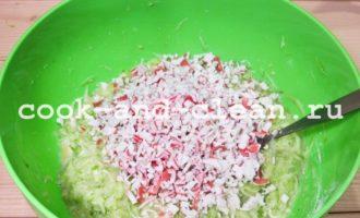 Оладьи из кабачков с крабовым мясом и зеленью рецепт с фото пошагово