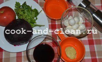 Салат со свеклой рукколой и моцареллой