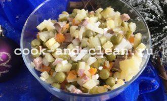 оливье с языком свиным рецепт