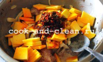 рецепт тыквы запеченной в духовке с курицей фото