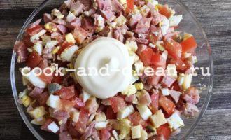 салат копченая курица помидоры сыр