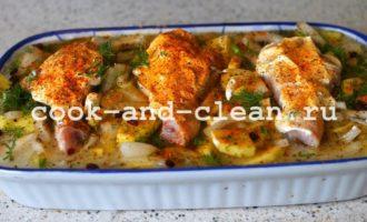 приготовить куриную голень с картошкой в духовке