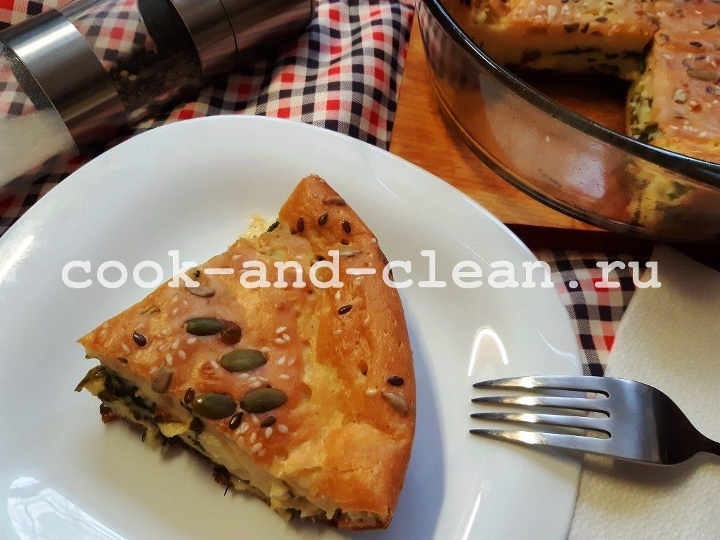 Заливной пирог со шпинатом и сыром