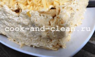 закусочный торт наполеон с грибами рецепт с фото