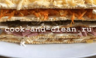 закусочный торт наполеон с грибами с фото