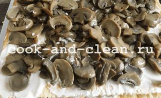 закусочный торт с грибами пошагово рецепт фото
