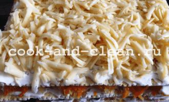 закусочный торт с грибами пошагово фото