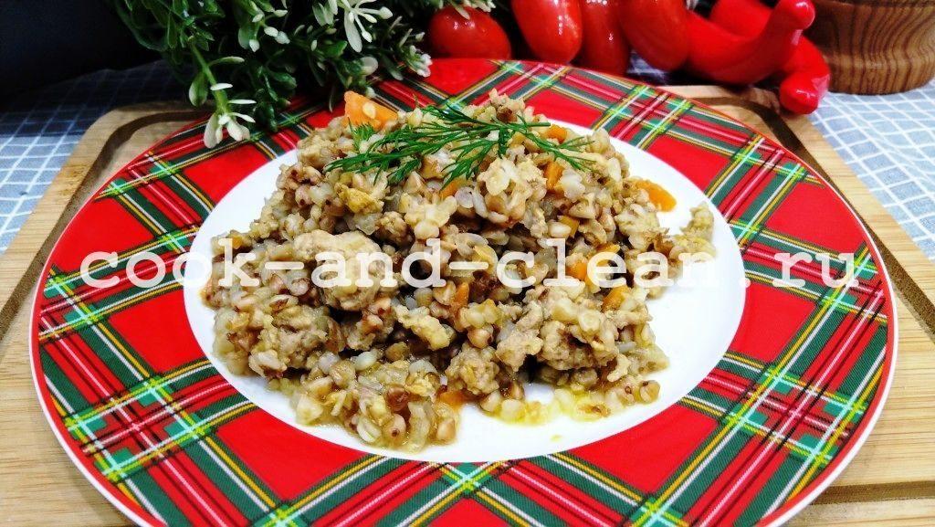 гречка с фаршем на сковороде