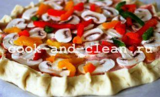 домашняя пицца в духовке с грибами пошагово