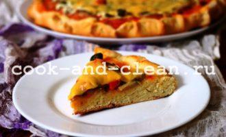 домашняя пицца в духовке с грибами
