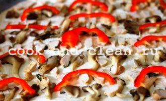 пицца с курицей грибами рецепт фото