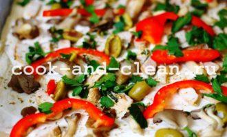 пицца с курицей грибами фото рецепт