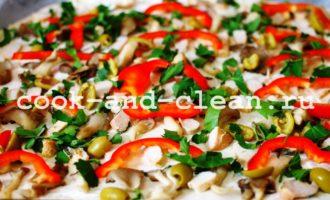 пицца с курицей грибами фото