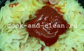 рецепт капусты тушеной с сосисками на сковороде