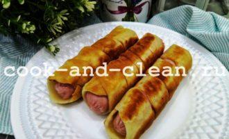 сосиски в тесте на кефире на сковороде