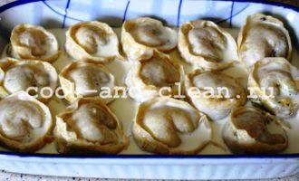 как приготовить пельмени с грибами в духовке