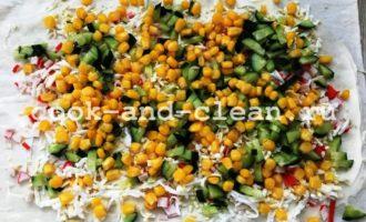крабовый салат в лаваше пошагово