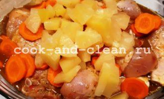 курица с консервированными ананасами в духовке