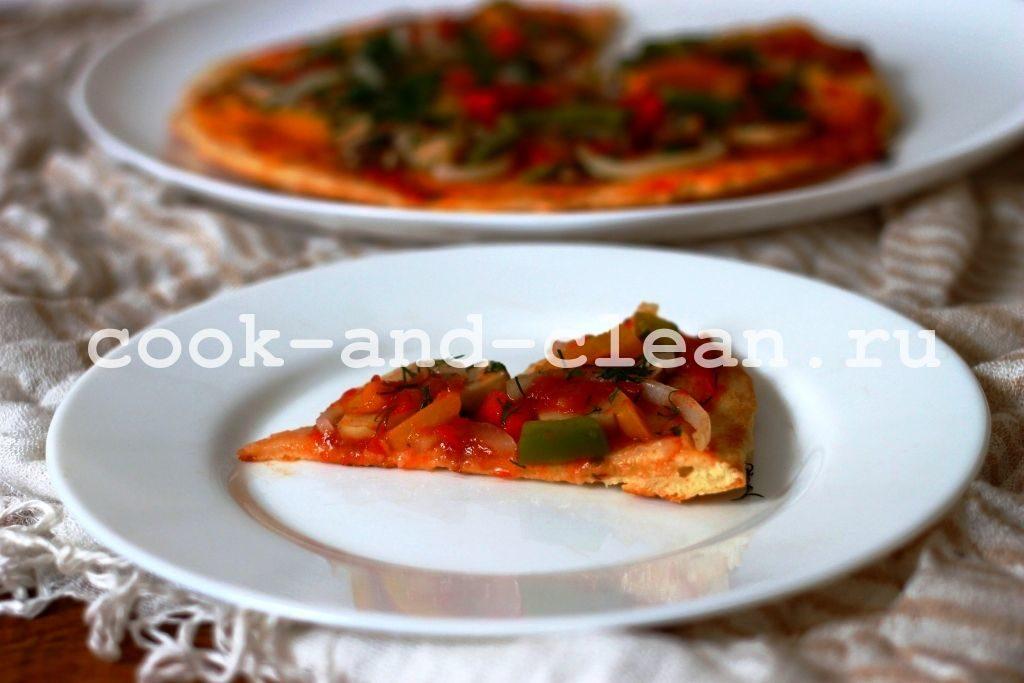 постная пицца на сковороде