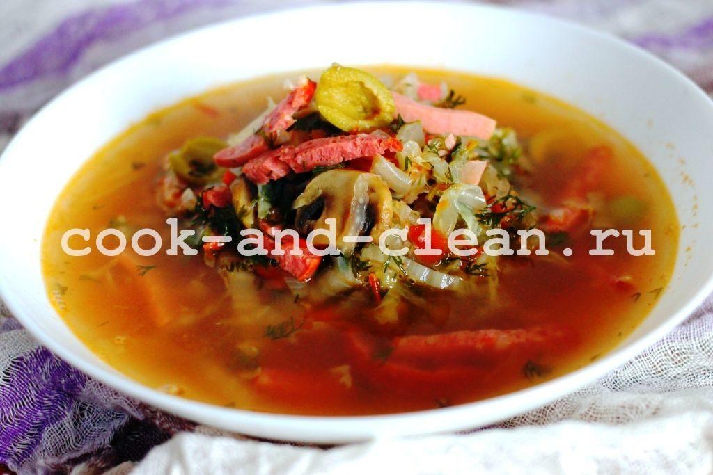 солянка с грибами и капустой рецепт