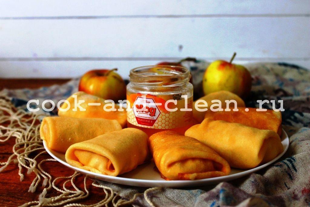 блинчики с творогом и яблоками рецепт