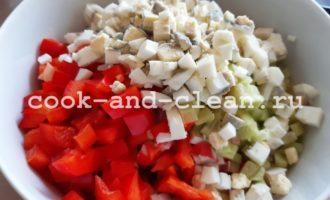 салат крабовое мясо перец болгарский