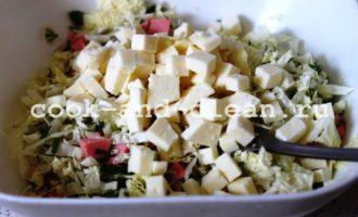 салат с колбасой и сыром с фото
