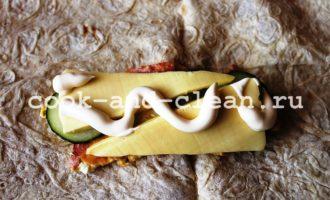 шаурма с колбасой и сыром пошагово с фото