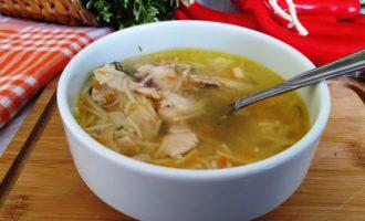 как приготовить куриный суп с вермишелью без картошки