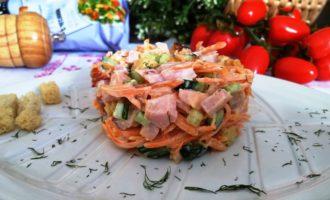 как приготовить салат с копченой курицей и корейской морковкой