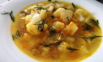 как приготовить грибной суп с цветной капустой