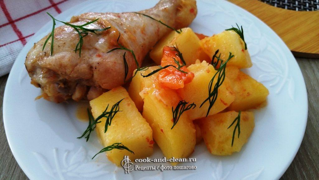 как приготовить курица с картошкой на сковороде