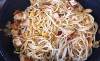 спагетти с курицей пошаговый