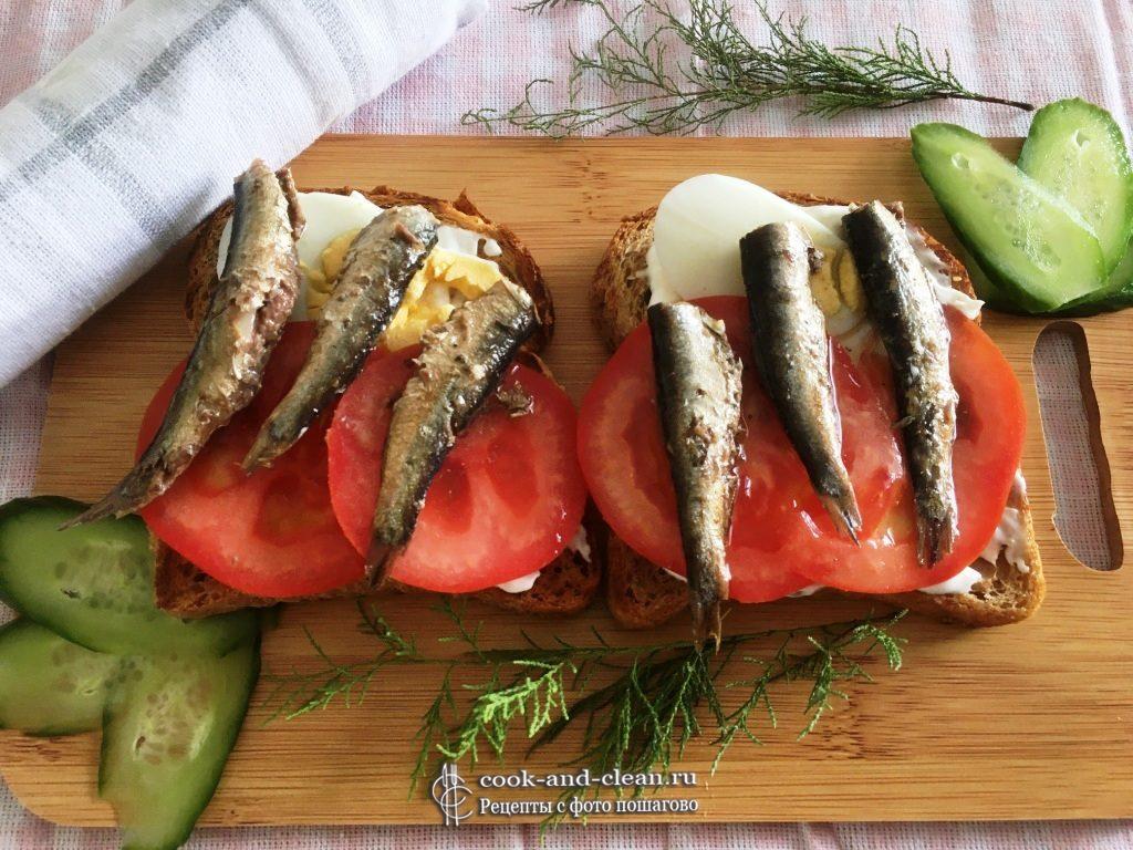 бутерброды с яйцом и шпротами